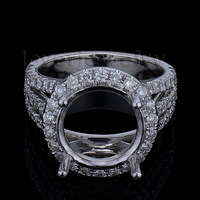 New Round 11x11mm Solid 14kt White Gold Diamond Semi mount Engagement Ring WU247