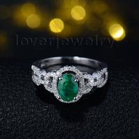 BEST THANKSGIVING GIFT Genuine Natural Emerald Diamonds Ring 18KT White Gold G090458