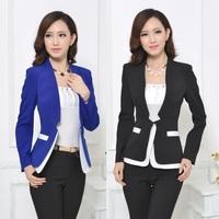 Fashion Formal Blue Blazer Women Winter Jackets Fashion Blaser Feminino 2014 Ladies Work Clothes Office Uniform Styles