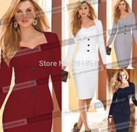 2014 New European Brand Fashion Autumn Winter Women Elegant Sexy Long Sleeve Celebrity Bodycon Bandage Slim Work Evening Dresses