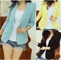 NEW 2014 european candy color one button women jacket women coat women blazer suit foldable jackets women clothes suit