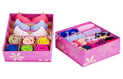 Popular Eco-Friendly Non-Woven Fabric 1Set/2 Pieces Foldable Storage Box Case For Bra,Towel,Underwear,Socks,Necktie,Organizer(China (Mainland))