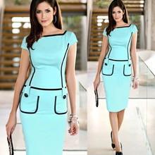 Brand New  Women  Pocket Decorated  Office Midi Dress PW-016(China (Mainland))
