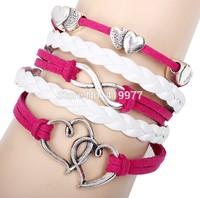 2015 New Design Metal Double Heart Infinity Leather Bracelets & Bangles Luxury Bracelets For Women Unisex Best Selling Gift