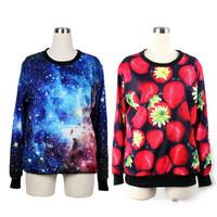New Fashion Women's Neon Galaxy Cosmic /  Strawberry Print Roll Neck Sweatshirt Sweaters  Free Shipping