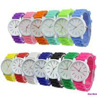 Deluxe Elegant Geneva Silicone Band Quartz Analog Dial Sports Wrist Watch Free Shipping