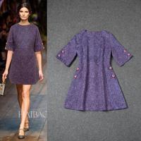 Hot Sale New Brand Women Desigual Autumn Dresses Elegant Purple Dresses Femininos Vestidos Clothing Free Shipping W11460