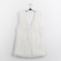 2014 Fashionable mink fur coat mix women faux fur vest Winter long sleeveless luxury fur coat plus size slim fur coats