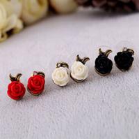 High quality fashion vintage asymmetrical rose stud earrings for women 120pair