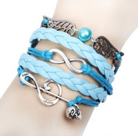 New Fashion Vintage Music Note Wing Infinity Multilayer Leather Bracelet Jewelry For Women Unisex Best Friends Gift