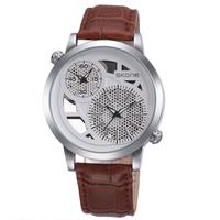 2015 Original SKONE Brand Dual Time Digital Analog Men Quartz Watch,Men's Leather Strap Sports Watch,30M Water Resistant,9248EG
