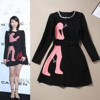 New Brand Hot Sale Women Long Sleeve Autumn Dresses For Women Beading Fashion Print Black/Red Vestidos Free Shipping W22838