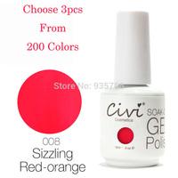 (Choose 3)Civi Nail Gel Polish Soak Off Nail Gel UV 30 Days Long Lasting 200 Gorgeous Colors The Best Gel Polish