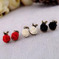 Best price fashion vintage asymmetrical rose stud earrings for women 20pair