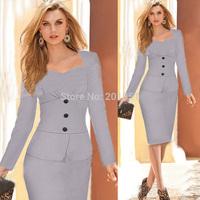 Plus Size S-XXL 2014 New Fashion Autumn Winter Women Elegant Long Sleeve Knee-Length Celebrity Bodycon Party Evening Dresses