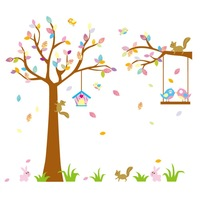 Free shipping OWL TREE New  With Tree With Animal Kindergarten Removable Wall Sticker Factory NCJ7226