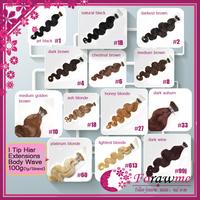 Brazilian Prebonded hair extensions stick I tip hair extensions Body Wave 100g(1g/strands) #1b natural black #4 dark brown #27