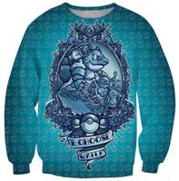 I chose water Squirtle blue women hoody 2014 Autumn 3D Pockmon Print Sweatshirt Casual Women Hoodies Sweatshirts