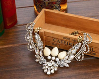 Free shipping!!!Fashion Statement Necklace,Bling, Zinc Alloy, with iron chain & Crystal & Resin, with 4cm extender chain
