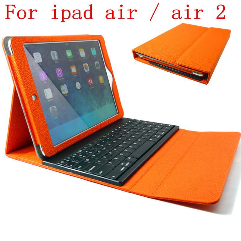 For New iPad Air 2 /ipad air 5th ABS Plastic Bluetooth Keyboard Wireless Folio Leather Case Cover with sleep/wake Orange(China (Mainland))