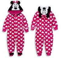 Newest Retail(2-14years) Hot sale Children/kids/girls clothing/ Long Sleeve minnie coral fleece Sleepwear/Robe /Pajamas /sleeper
