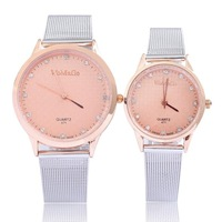 Lovers watch male female fashion new design a pair of rose gold plated crystal rhinestone alloy band hot sale drop shipping