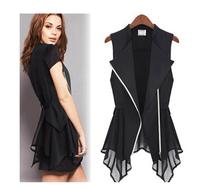 JSS5189 Plus Size  New 2014  European Style Chiffon Top Sleeveless Silm Jacket  Vest