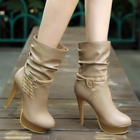 Fall Boots Nude single boots boots waterproof boots high heels female spring and winter models D10