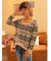 2014 autumn folk style retro - sleeve head loose sweater