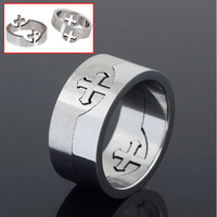 2014 New Arrival Fashion 316L Stainless Steel Jewelry Top Quality Titanium 316L Stainless Steel Cross Ring 10mm Wide Free Ship