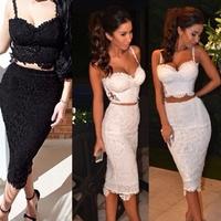 2015 New Fashion Strap Flower Lace 2 Two Piece Lace Dress White Knee Length Sexy Bodybon Dress Black Nightclub Party Dresses Y06