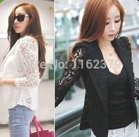 2014 Free shipping&Wholesales Feitong  Sexy Women Long Sleeve Lace Crochet Blazer Small Blazer Jacket short coat