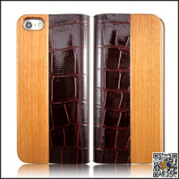 Fashion Natural Cherry Wood Bamboo Stitching Genuine Leather Case Wood & Leather Cover Case For Iphone 5 5S