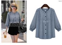 XH7122 Plus Size  New  2014 Long Sleeve  Autumn Blouse   Loose Plaid Round Neck Casual Shirt Women   Camisas