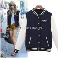 Free shipping New 2014 New Baseball Uniform Women coat Stand Collar  Sweatshirts For Women/Casual Sport Coats Women Clothing