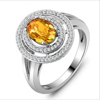 And Europe and the United States natural citrine ring in sterling silver jewelry marriage wedding