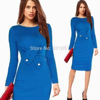 Plus Size S-XXL Purple,Blue 2014 Autumn Fashion Women Elegant Slim Knee-Length Casual OL Work Celebrity Bodycon  Pencil Dresses
