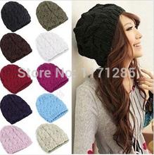 free shipping Fashion Warm Winter Women Beret Braided Baggy Beanie Hat Ski Cap cute hat  wholesale  AA0119(China (Mainland))
