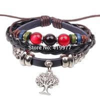 2015 Fashion Leather Charm Bracelet Braid Multilayer Bracelet  Europe Life Tree Bangle Best Friends Gift