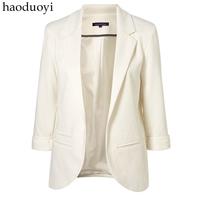 Quarter Sleeve Candy-Colored Blazer Women Plus Size OL Small Suit Jacket 12 Color