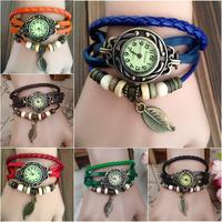 Women weave leaves bracelet watch ladies bracelet watch  Quartz Movement Wrist Watch Girl Women