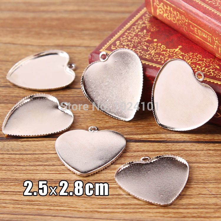 2015 Newest Wholesale 50pcs/lot 25mm Silver Plated Heart Pendant Blanks Tray Jewelry for Bezels/Cameo Cabochons DIY Charms(China (Mainland))