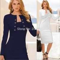 Plus Size S-XXL Blue,White 2014 New Fashion Autumn Winter Women Knee-Length Pencil Party Ladies Celebrity Midi Bodycon Dresses