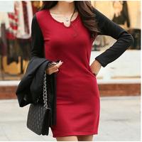 New Fashion 2014 Autumn and Winter Fashion Long-sleeve Slim Patchwork Female Plus size Plus Velvet Thickening Dresses