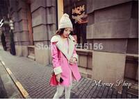 2014 New winter Coats Women Double-breasted Luxury Woollen Coat Jacket pink female hot sale