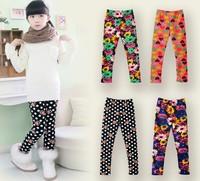 1pc retail children girls fashion flower heart print leggings kids boot cut girl winter legging
