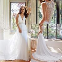 In Fashion Elegnat Bridal Vestidos with Crystal Beading V Neck A-line Long Train Income White Chiffon Wedding Dresses 2015