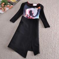 Women Autumn Winter Dress 2015 Cartoon Patchwork Office Black Asymmetrical Dresses Pencil print Plus Size Thick Dress SY2574