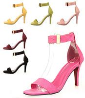 New 2014 Fashion Women Sandals 8cm Open Toe Ankle Straps Sandals High Heels Summer BRIDAL PATENT LEATHER Pumps shoes for women