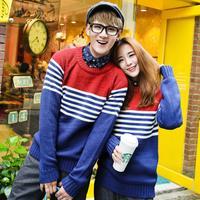 sweater QM91F65* Korean couple Mori girl sweater striped sweaters men's sweaters retro autumn/winter College winter coat